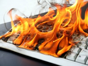 keyboard on fire creating a health risk